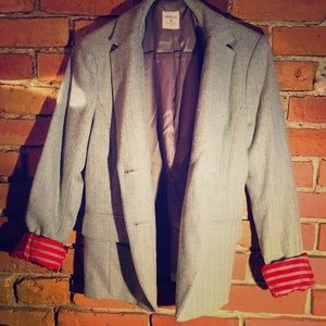 Gap Academy Blazer in grey tweed and red lining s6